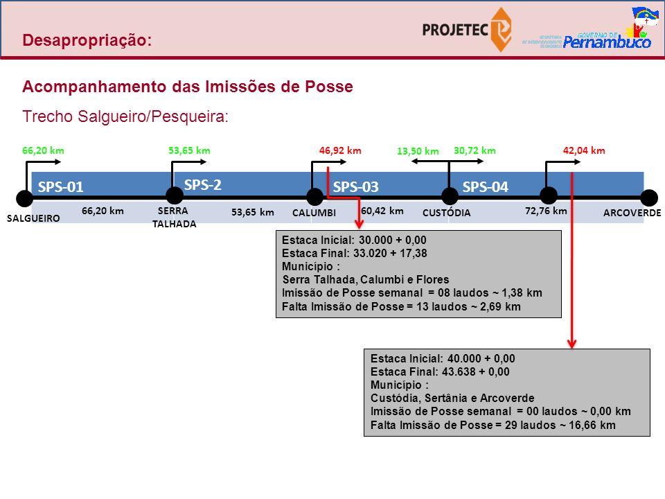 Desapropriação: Acompanhamento das Imissões de Posse Trecho Salgueiro/Pesqueira: SPS-05 SPS-6 SPS-07 SPS-08 52,99 km 43,75 km 53,42 km48,70 km CACHOEIRINHARIBEIRÃOPESQUEIRA SÃO JOAQUIM DO MONTE 43,75 km48,70 km Estaca Inicial: 50.000 + 0,00 Estaca Final: 52.649 + 10,00 Municípios : Arcoverde e Pesqueira Imissão de Posse semanal = 01 laudos ~ 0,30 km Falta Imissão de Posse = 90 laudos ~ 20,23 km Falta Depósito = 02 laudos ~ 0,33 km 52,99 km53,42 km Estaca Inicial: 60.000+0,00 Estaca Final: 62.187 + 10,00 Município : Pesqueira, Sanharó, S.