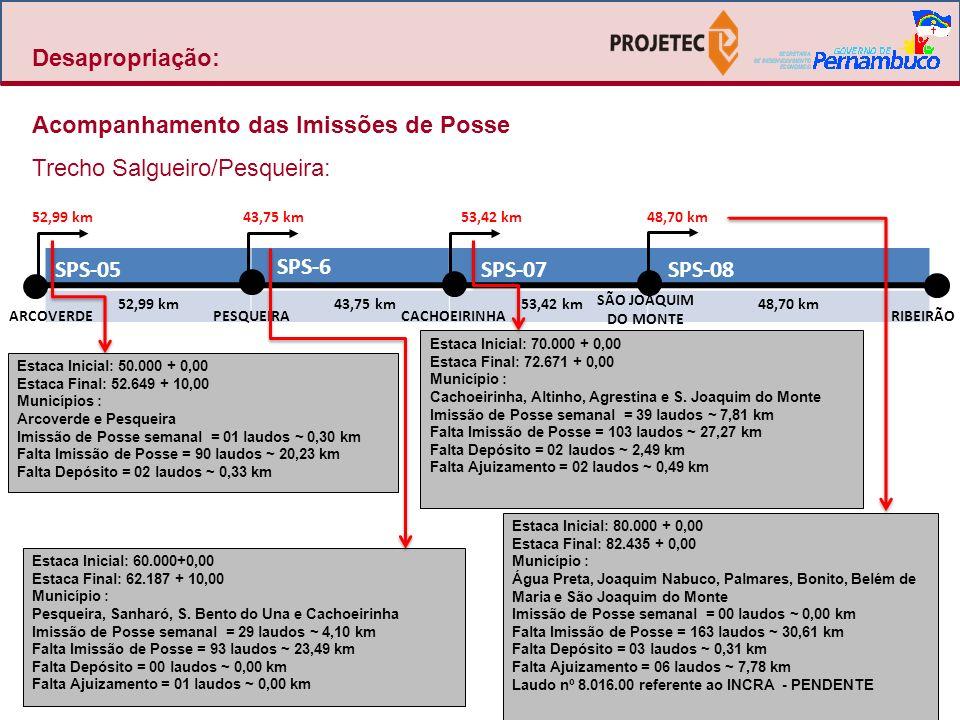 TRECHO SEGMENTO PROJETO MUNICÍPIOS TOTAL AÇÕES COM DEPOSITO EFETUADOIMISSÃO DE POSSE Atualizado em 13/04/10 Atualizado em 19/04/10 Atualizado em 27/04/10 Atualizado em 13/04/10 Atualizado em 19/04/10 Atualizado em 27/04/10 TOTAL DE LAUDOS EXTENSÃO em KM PERCENTUA L % EXTENSÃO em KM PERCENTUA L % EXTENSÃO em KM PERCENTUA L % EXTENSÃO em KM PERCENTUA L % EXTENSÃO em KM PERCENTUA L % EXTENSÃO em KM PERCENTUA L % SPS-08 Ribeirão / São Joaquim do Monte 21648,7030,5162,65%8,0916,61%30,6162,85%9,2218,93%9,2218,93%9,2218,93% SPS-07 São Joaquim do Monte/ Cachoerinha 21653,4234,6864,92%0,490,92%27,2751,05%15,3628,75%19,8537,16%23,1743,37% SPS-06 Cachoerinha / Pesqueira 18843,7527,5963,06% 23,4953,69%16,1636,94%18,7342,81%20,2646,31% SPS-05 Pesqueira/ Arcoverde 26052,9920,5138,71% 20,2338,18%32,1360,63%32,4361,20%32,4361,20% SPS-04 Arcoverde / Custódia 11972,7616,6622,90% 16,6622,90%56,1077,10%56,1077,10%56,1077,10% SPS-03 Custódia / Serra Talhada 26560,424,076,74% 2,694,45%56,3593,26%57,6395,38%57,7395,55% SPS-02Serra Talhada22153,65 100,00%53,65100,00%53,65100,00% SPS-01 Serra Talhada / Salgueiro 26466,20 100,00%66,20100,00%66,20100,00% SUB TOTAL 1749451,89134,0229,66%8,581,90%120,9526,77%305,1767,53%313,8169,44%318,7670,54% SALGUEIRO / TRINDADE LOTE 2 Salgueiro/ Parnamirim 16163,82 100,00%63,82100,00%63,82100,00% LOTE 3 Parnamirim/ Trindade 25899,06 100,00%99,06100,00%99,06100,00% SUB TOTAL 419162,880,000,00%0,000,00%0,000,00%162,88100,00%162,88100,00%162,88100,00% TRINDADE / DIVISA PE-PI LOTE 07 Trindade / Divisa PE - PI 8129,20 100,00%29,20100,00%29,20100,00% SUB TOTAL 8129,200,000,00%0,000,00%0,000,00%29,20100,00%29,20100,00%29,20100,00% TOTAL 2249643,97134,0220,81%8,581,33%120,9518,78%497,2577,22%505,8978,56%510,8479,33% OBSERVAÇÕES:1.