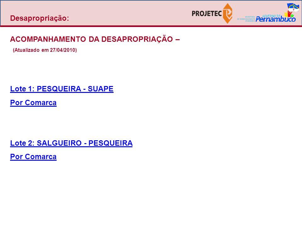 Desapropriação: ACOMPANHAMENTO DA DESAPROPRIAÇÃO – (Atualizado em 27/04/2010) Lote 1: PESQUEIRA - SUAPE Por Comarca Lote 2: SALGUEIRO - PESQUEIRA Por