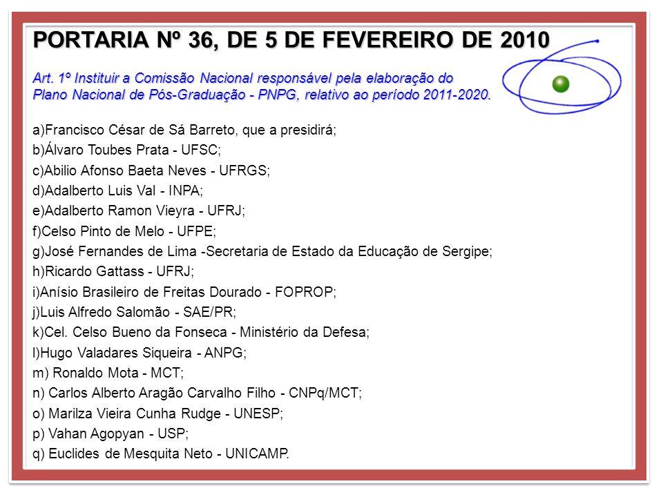 PORTARIA Nº 36, DE 5 DE FEVEREIRO DE 2010 Art. 1º Instituir a Comissão Nacional responsável pela elaboração do Plano Nacional de Pós-Graduação - PNPG,