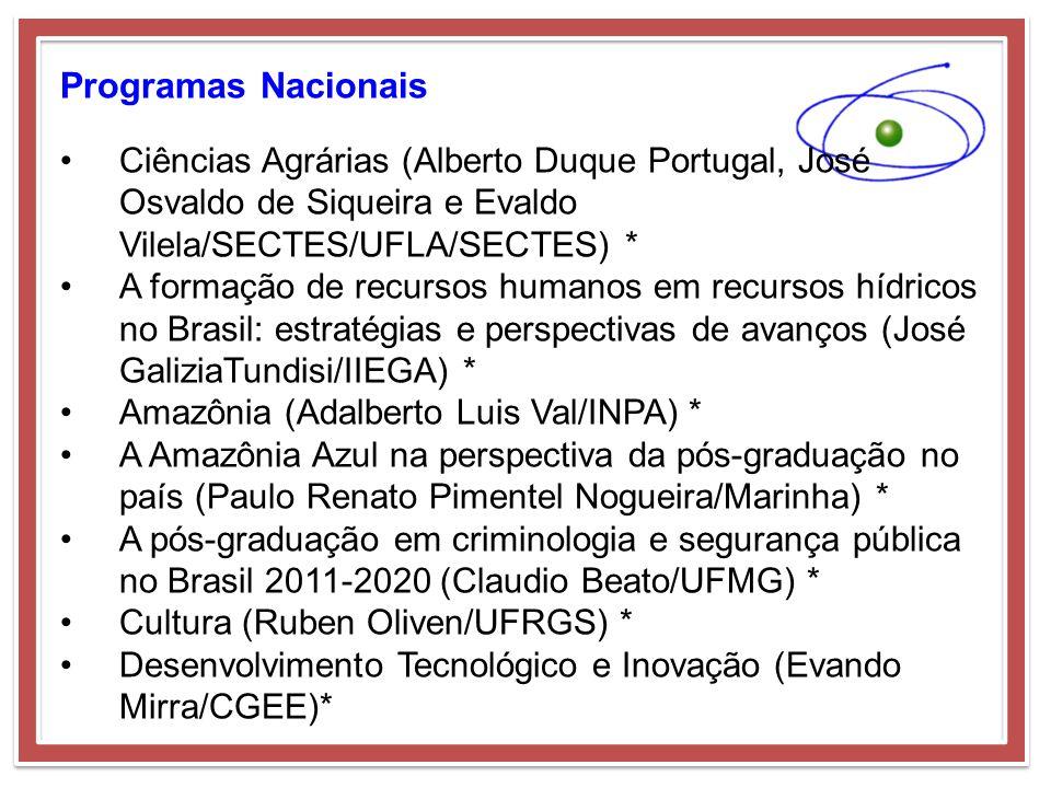 Programas Nacionais Ciências Agrárias (Alberto Duque Portugal, José Osvaldo de Siqueira e Evaldo Vilela/SECTES/UFLA/SECTES) * A formação de recursos h