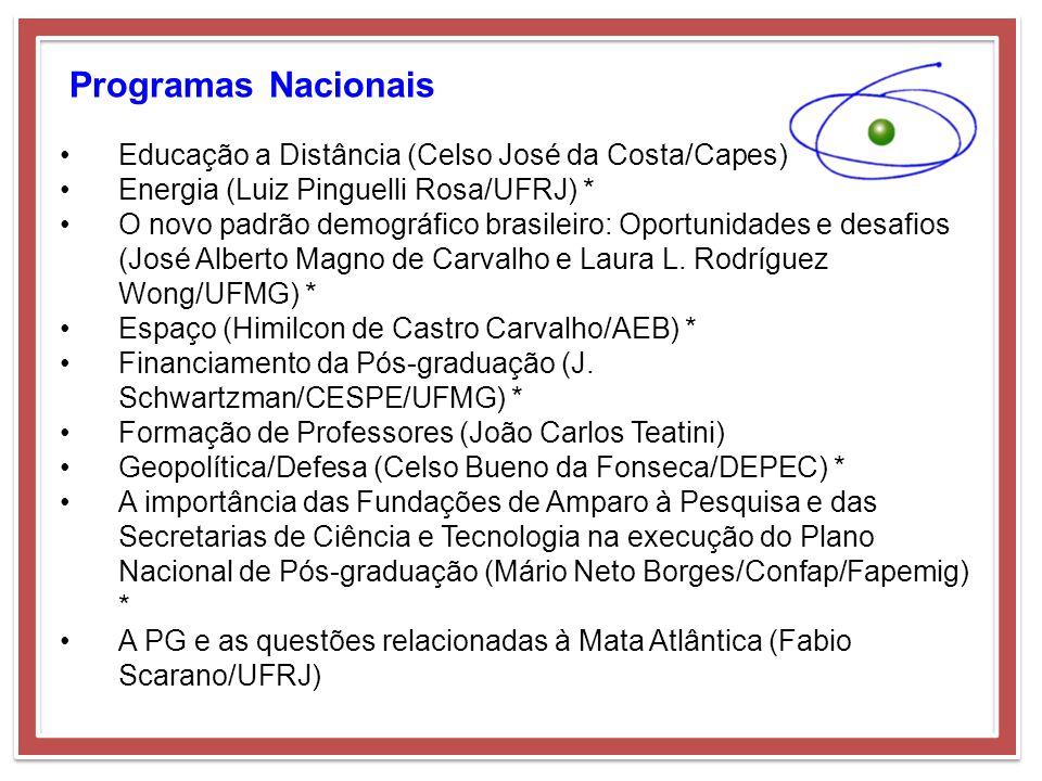 Programas Nacionais Educação a Distância (Celso José da Costa/Capes) Energia (Luiz Pinguelli Rosa/UFRJ) * O novo padrão demográfico brasileiro: Oportu