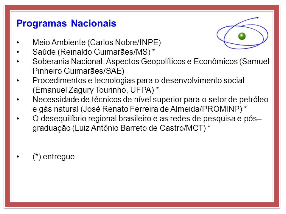 Programas Nacionais Meio Ambiente (Carlos Nobre/INPE) Saúde (Reinaldo Guimarães/MS) * Soberania Nacional: Aspectos Geopolíticos e Econômicos (Samuel P