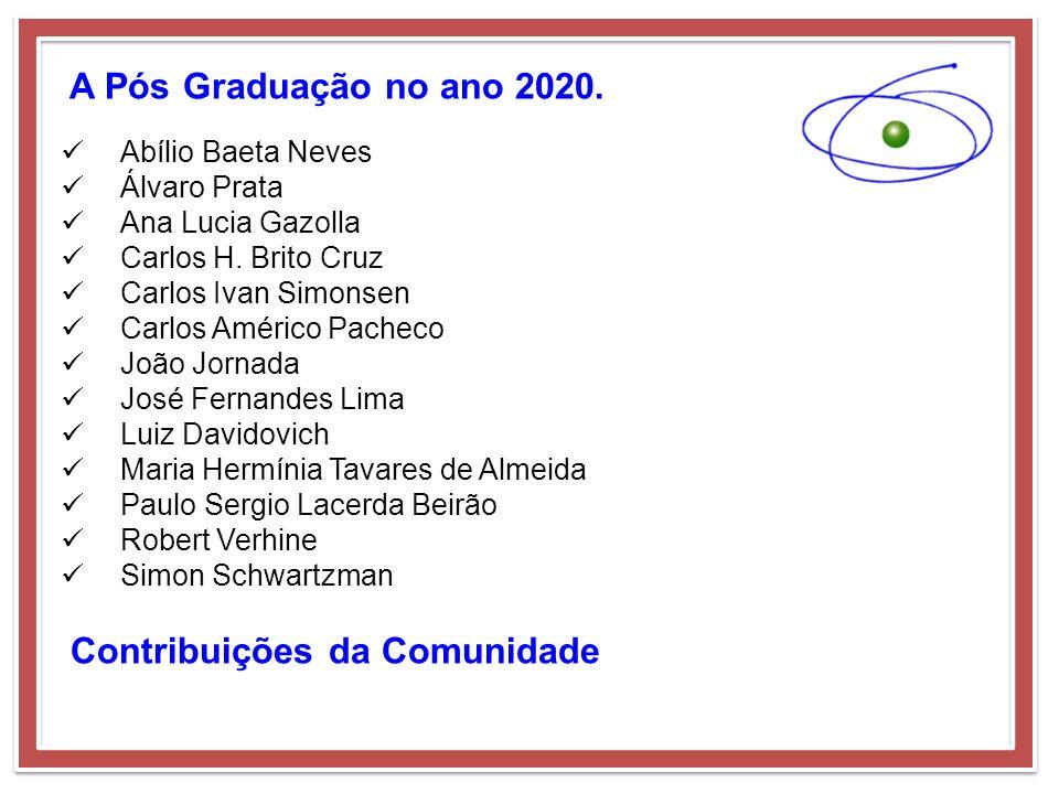 A Pós Graduação no ano 2020. Abílio Baeta Neves Álvaro Prata Ana Lucia Gazolla Carlos H. Brito Cruz Carlos Ivan Simonsen Carlos Américo Pacheco João J