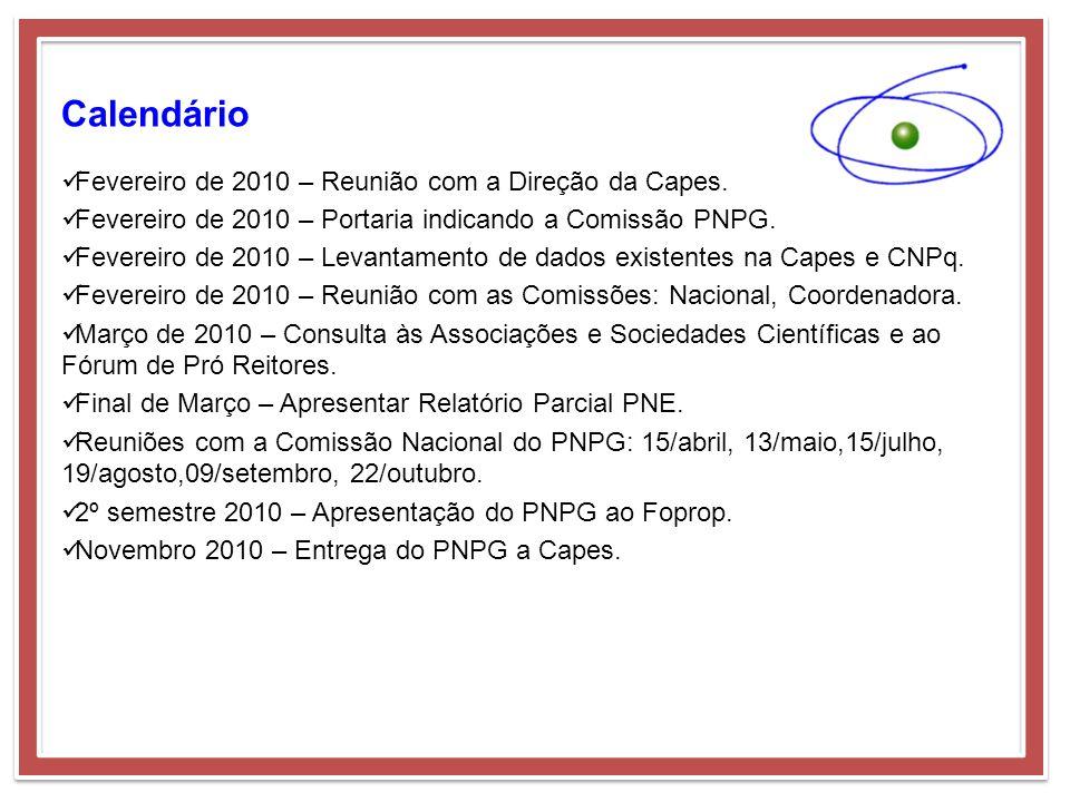 Calendário Fevereiro de 2010 – Reunião com a Direção da Capes. Fevereiro de 2010 – Portaria indicando a Comissão PNPG. Fevereiro de 2010 – Levantament