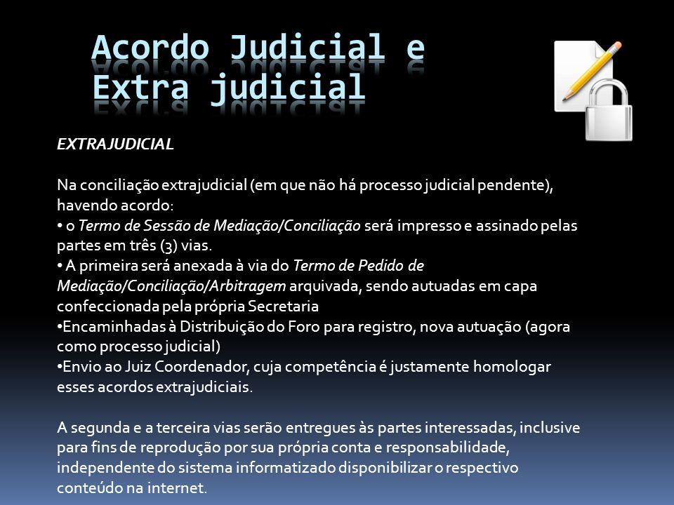 EXTRAJUDICIAL Na conciliação extrajudicial (em que não há processo judicial pendente), havendo acordo: o Termo de Sessão de Mediação/Conciliação será