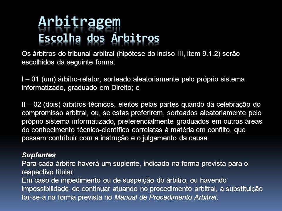 Os árbitros do tribunal arbitral (hipótese do inciso III, item 9.1.2) serão escolhidos da seguinte forma: I – 01 (um) árbitro-relator, sorteado aleato