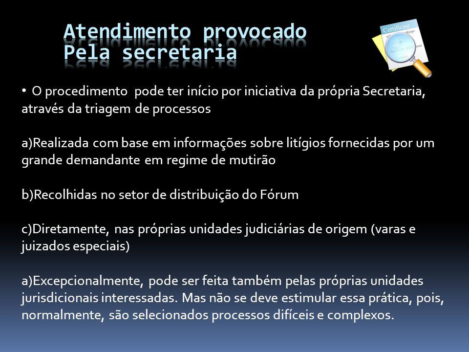 O procedimento pode ter início por iniciativa da própria Secretaria, através da triagem de processos a)Realizada com base em informações sobre litígio