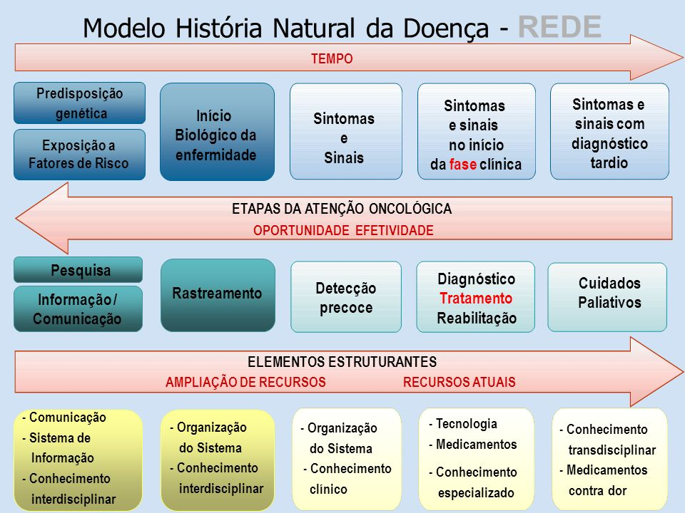 Modelo História Natural da Doença - REDE ETAPAS DA ATENÇÃO ONCOLÓGICA OPORTUNIDADE EFETIVIDADE TEMPO ELEMENTOS ESTRUTURANTES AMPLIAÇÃO DE RECURSOS RECURSOS ATUAIS Sintomas e Sinais Detecção precoce - Organização do Sistema - Conhecimento clínico Diagnóstico Tratamento Reabilitação - Tecnologia - Medicamentos - Conhecimento especializado Sintomas e sinais no início da fase clínica Sintomas e sinais com diagnóstico tardio Cuidados Paliativos - Conhecimento transdisciplinar - Medicamentos contra dor Pesquisa Predisposição genética - Comunicação - Sistema de Informação - Conhecimento interdisciplinar Informação / Comunicação Exposição a Fatores de Risco Início Biológico da enfermidade - Organização do Sistema - Conhecimento interdisciplinar Rastreamento