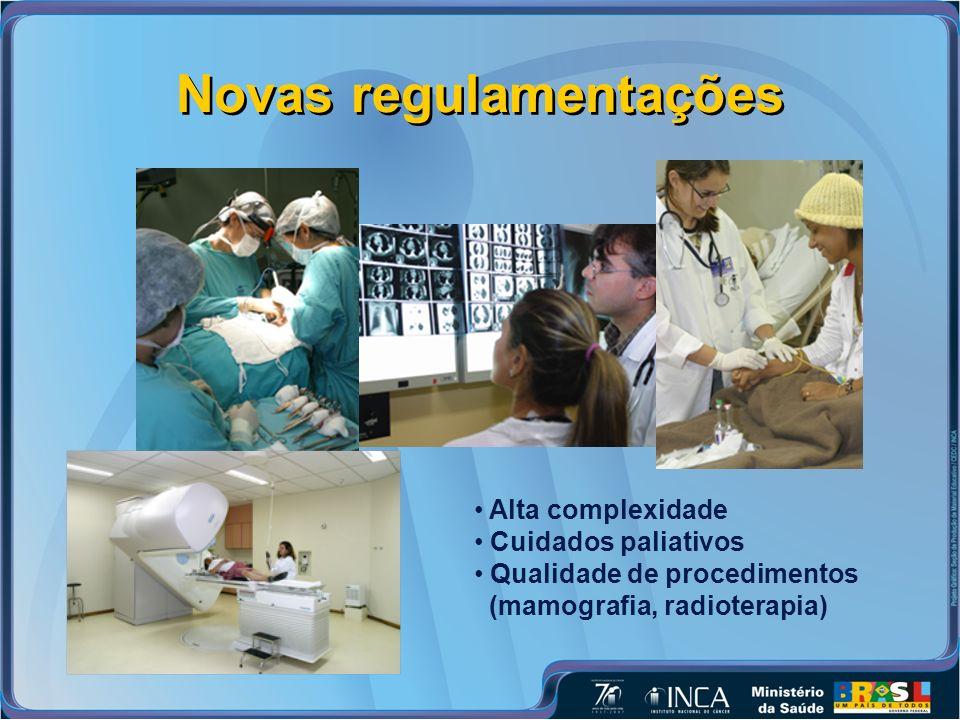 Novas regulamentações Alta complexidade Cuidados paliativos Qualidade de procedimentos (mamografia, radioterapia)