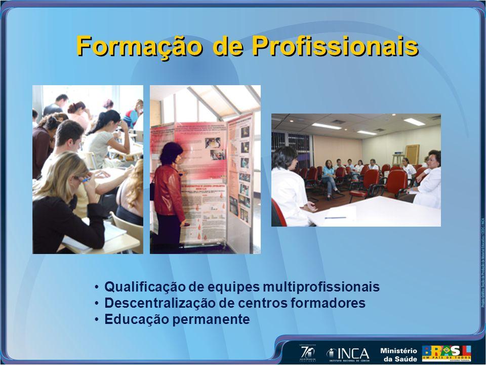 Formação de Profissionais Qualificação de equipes multiprofissionais Descentralização de centros formadores Educação permanente