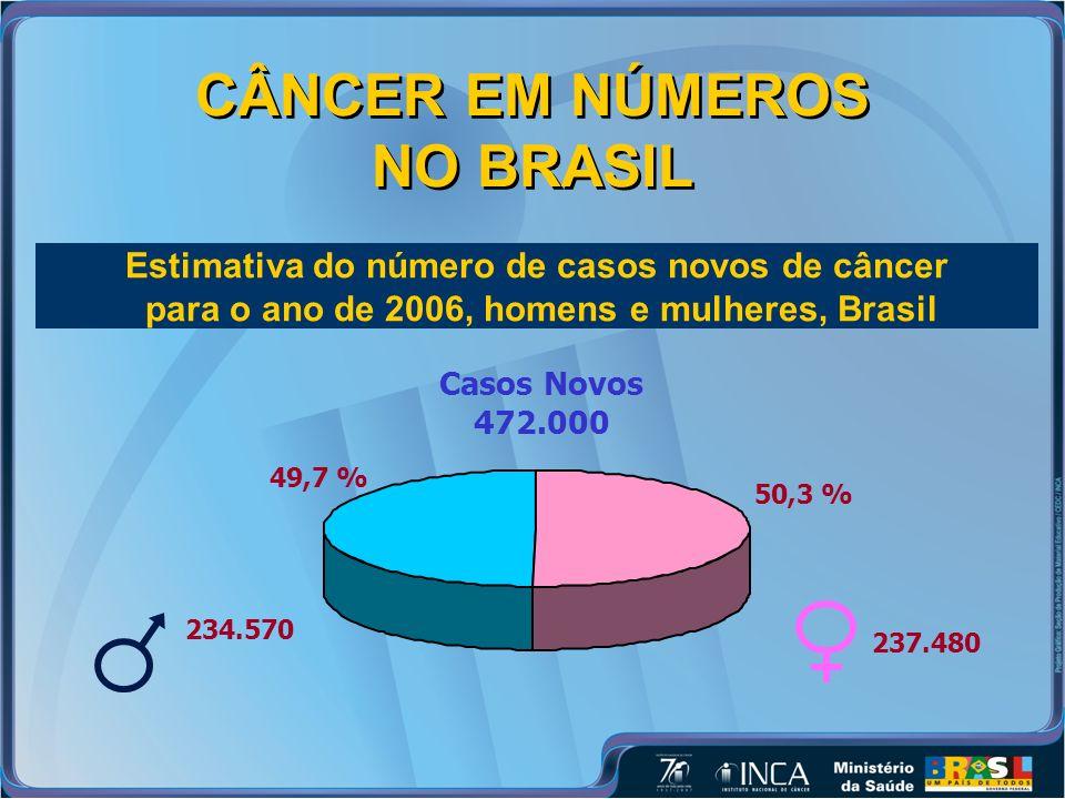 CÂNCER EM NÚMEROS NO BRASIL Estimativa do número de casos novos de câncer para o ano de 2006, homens e mulheres, Brasil Casos Novos 472.000 49,7 % 234.570 50,3 % 237.480