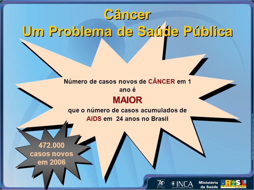Câncer Um Problema de Saúde Pública Número de casos novos de CÂNCER em 1 ano é MAIOR que o número de casos acumulados de AIDS em 24 anos no Brasil 472.000 casos novos em 2006