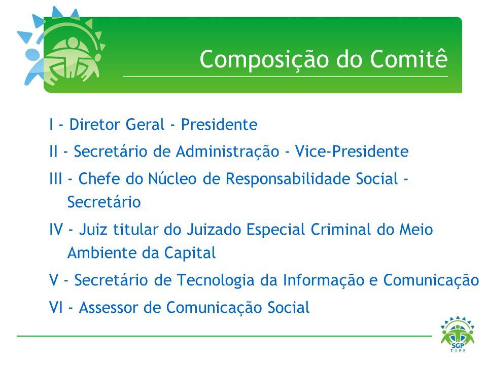 Composição do Comitê I - Diretor Geral - Presidente II - Secretário de Administração - Vice-Presidente III - Chefe do Núcleo de Responsabilidade Socia