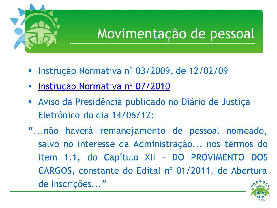 Movimentação de pessoal Instrução Normativa nº 03/2009, de 12/02/09 Instrução Normativa nº 07/2010 Aviso da Presidência publicado no Diário de Justiça