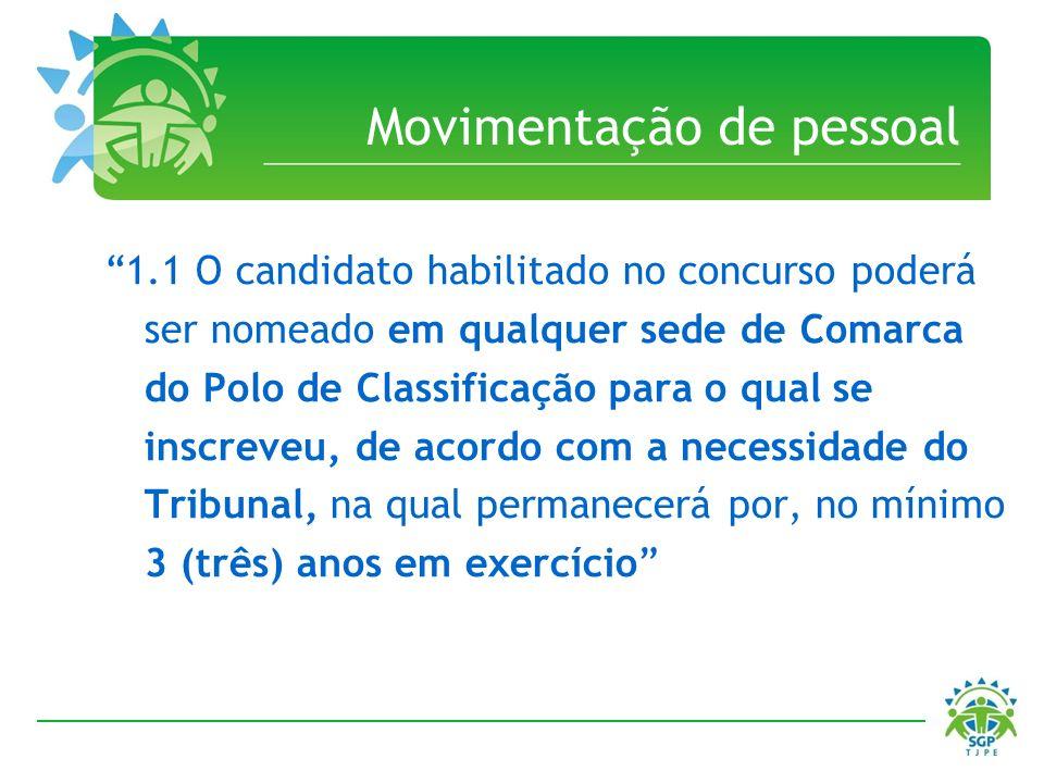 Movimentação de pessoal 1.1 O candidato habilitado no concurso poderá ser nomeado em qualquer sede de Comarca do Polo de Classificação para o qual se