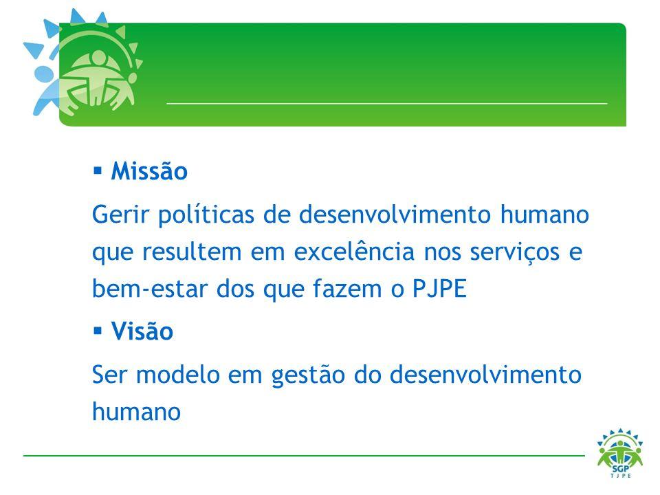 Missão Gerir políticas de desenvolvimento humano que resultem em excelência nos serviços e bem-estar dos que fazem o PJPE Visão Ser modelo em gestão d