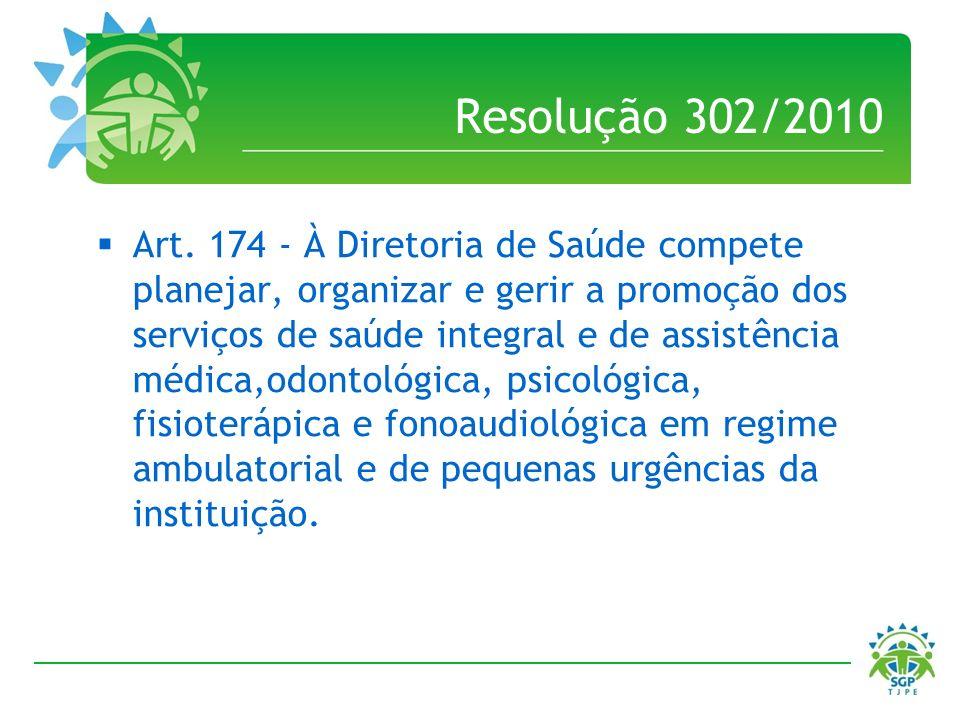 Resolução 302/2010 Art. 174 - À Diretoria de Saúde compete planejar, organizar e gerir a promoção dos serviços de saúde integral e de assistência médi