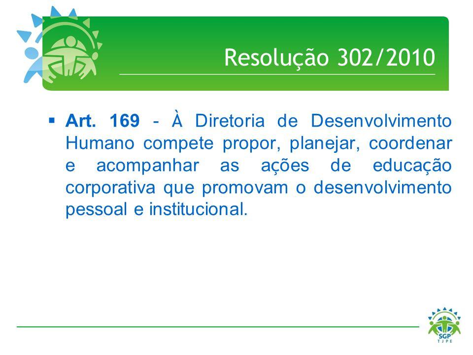 Resolução 302/2010 Art. 169 - À Diretoria de Desenvolvimento Humano compete propor, planejar, coordenar e acompanhar as a ç ões de educa ç ão corporat