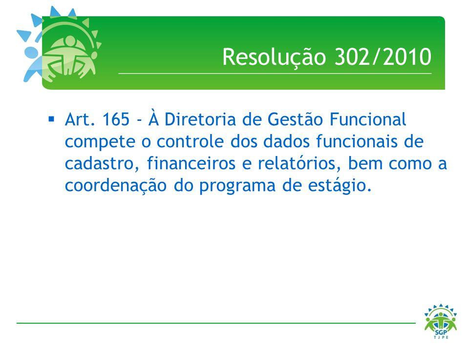 Resolução 302/2010 Art. 165 - À Diretoria de Gestão Funcional compete o controle dos dados funcionais de cadastro, financeiros e relatórios, bem como