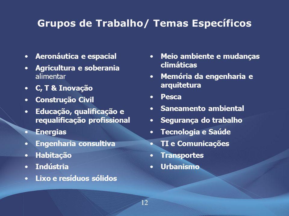 12 Grupos de Trabalho/ Temas Específicos Aeronáutica e espacial Agricultura e soberania alimentar C, T & Inovação Construção Civil Educação, qualifica
