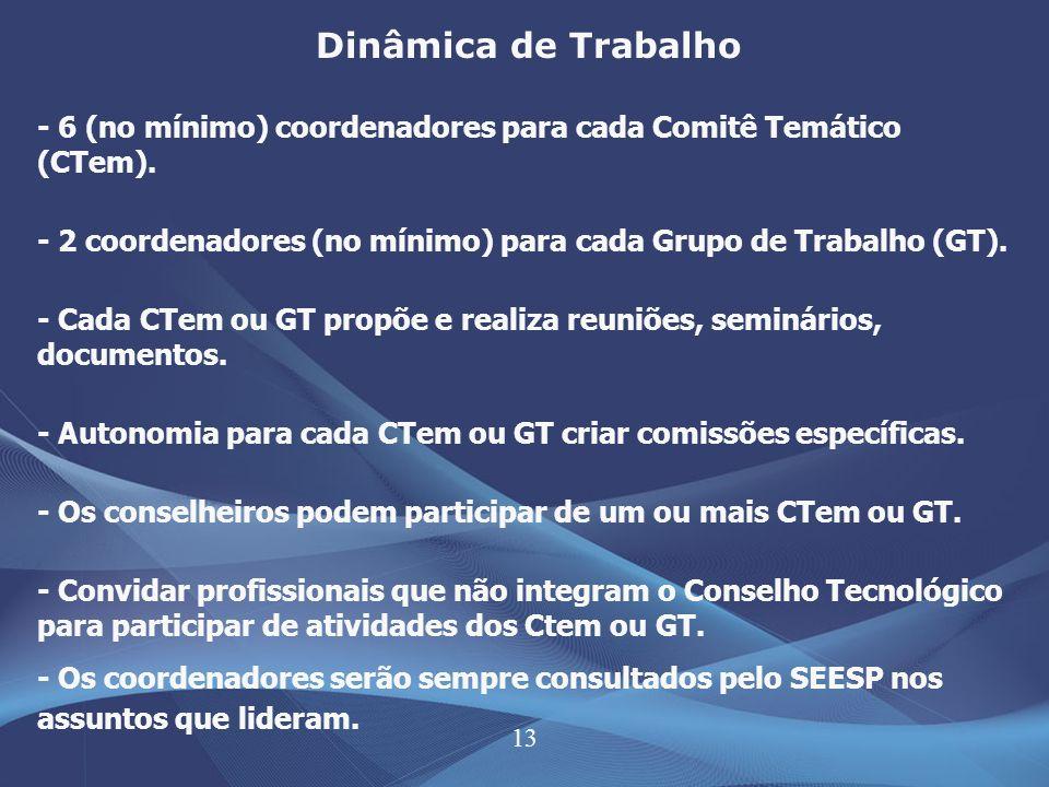 13 Dinâmica de Trabalho - 6 (no mínimo) coordenadores para cada Comitê Temático (CTem). - 2 coordenadores (no mínimo) para cada Grupo de Trabalho (GT)