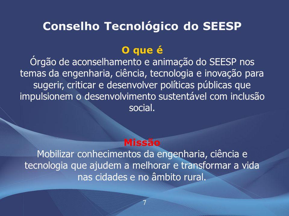 7 Conselho Tecnológico do SEESP O que é Órgão de aconselhamento e animação do SEESP nos temas da engenharia, ciência, tecnologia e inovação para suger