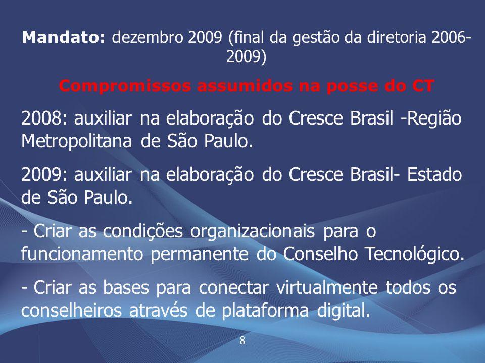 8 Mandato: d ezembro 2009 (final da gestão da diretoria 2006- 2009) Compromissos assumidos na posse do CT 2008: auxiliar na elaboração do Cresce Brasi