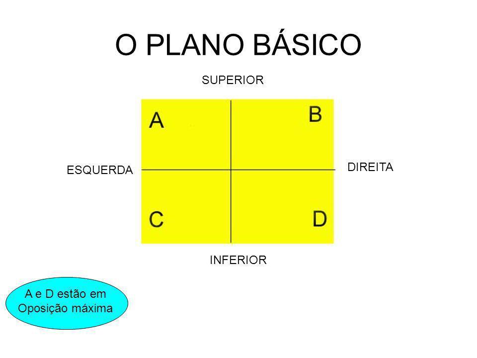 O PLANO BÁSICO SUPERIOR INFERIOR ESQUERDA DIREITA A e D estão em Oposição máxima C e B estão em Oposição moderada