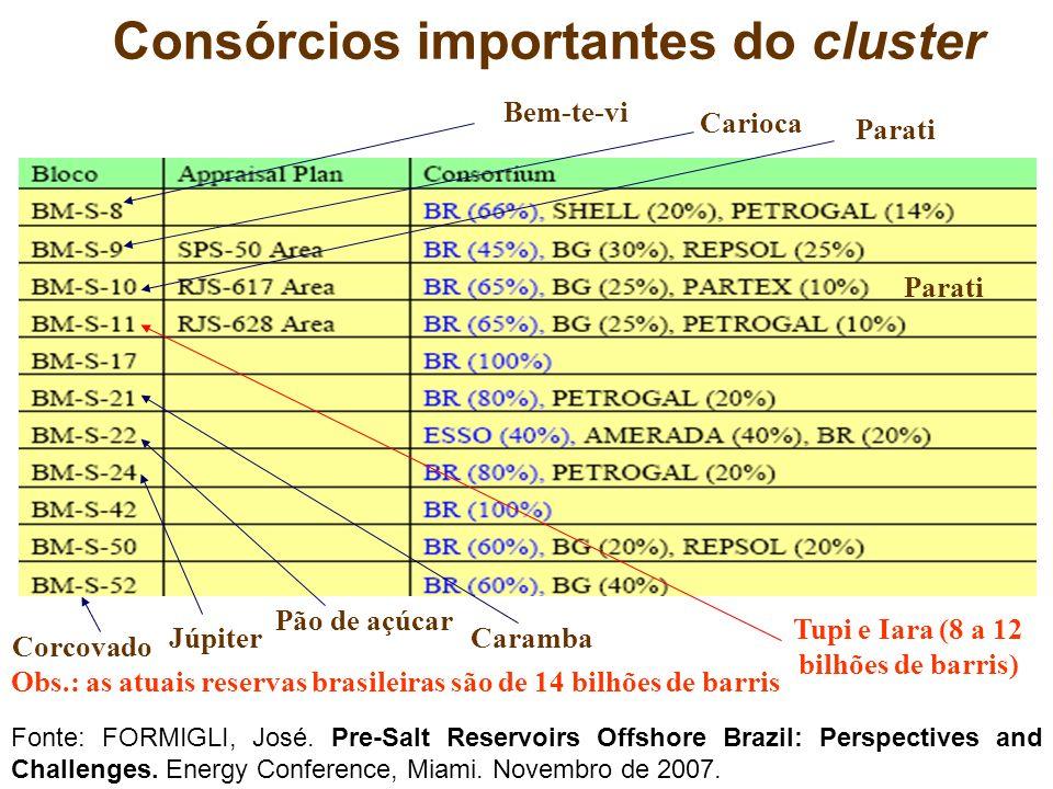 Consórcios importantes do cluster Bem-te-vi Carioca Parati Tupi e Iara (8 a 12 bilhões de barris) Júpiter Obs.: as atuais reservas brasileiras são de