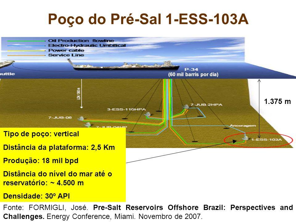 Poço do Pré-Sal 1-ESS-103A Tipo de poço: vertical Distância da plataforma: 2,5 Km Produção: 18 mil bpd Distância do nível do mar até o reservatório: ~
