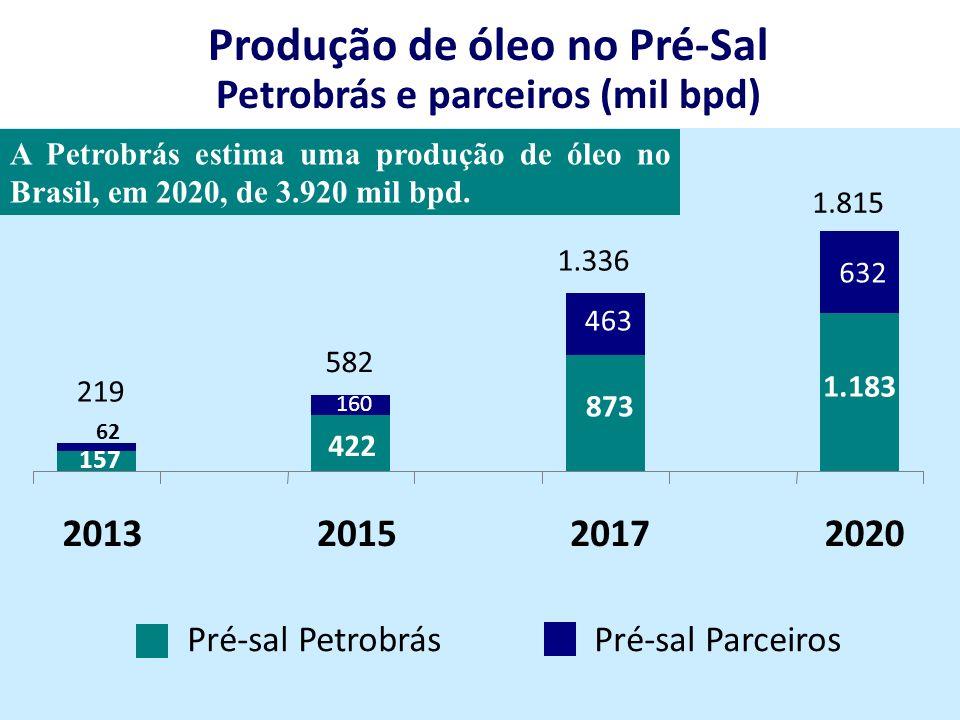 Pré-sal ParceirosPré-sal Petrobrás Produção de óleo no Pré-Sal Petrobrás e parceiros (mil bpd) 873 1.183 160 463 632 157 422 62 2013201520172020 219 1