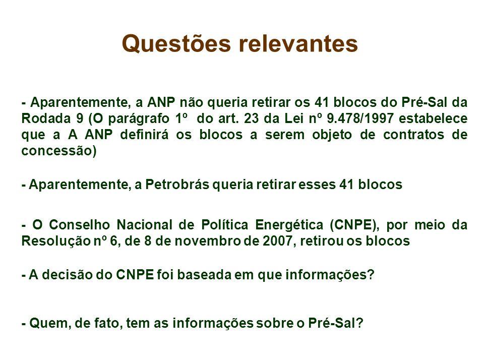 - Aparentemente, a ANP não queria retirar os 41 blocos do Pré-Sal da Rodada 9 (O parágrafo 1º do art. 23 da Lei nº 9.478/1997 estabelece que a A ANP d