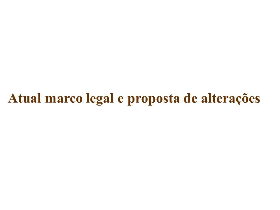 Atual marco legal e proposta de alterações