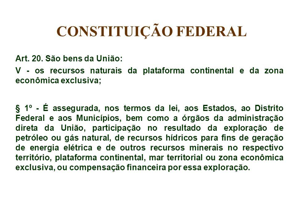 Art. 20. São bens da União: V - os recursos naturais da plataforma continental e da zona econômica exclusiva; § 1º - É assegurada, nos termos da lei,