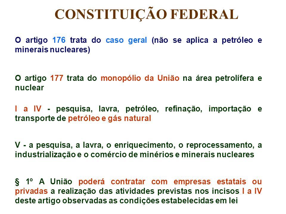 O artigo 176 trata do caso geral (não se aplica a petróleo e minerais nucleares) O artigo 177 trata do monopólio da União na área petrolífera e nuclea