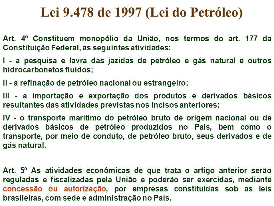 Art. 4º Constituem monopólio da União, nos termos do art. 177 da Constituição Federal, as seguintes atividades: I - a pesquisa e lavra das jazidas de