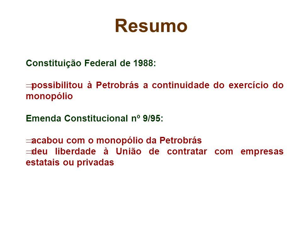 Resumo Constituição Federal de 1988: possibilitou à Petrobrás a continuidade do exercício do monopólio Emenda Constitucional nº 9/95: acabou com o mon