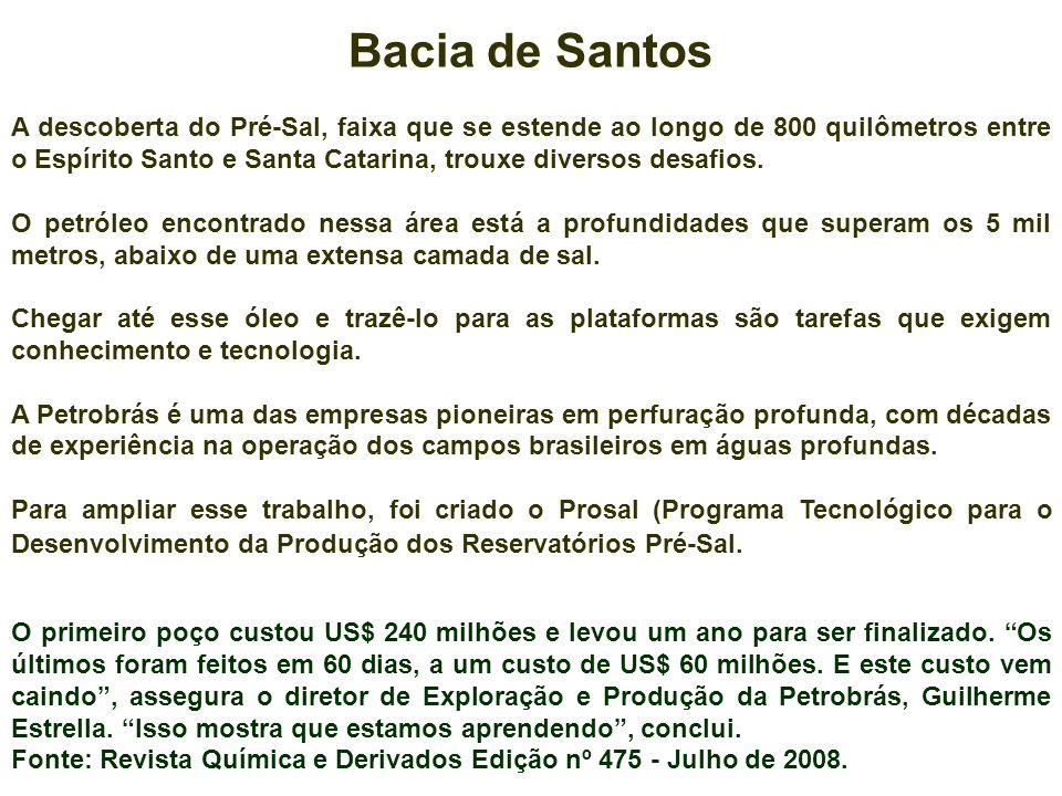 Bacia de Santos A descoberta do Pré-Sal, faixa que se estende ao longo de 800 quilômetros entre o Espírito Santo e Santa Catarina, trouxe diversos des