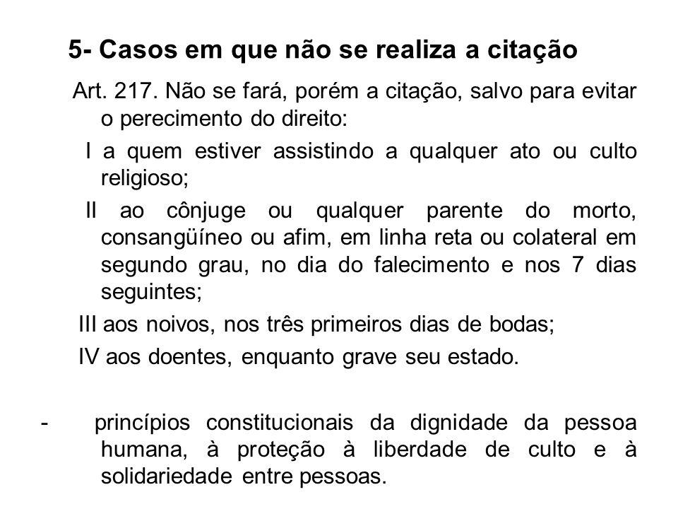 5- Casos em que não se realiza a citação Art.217.