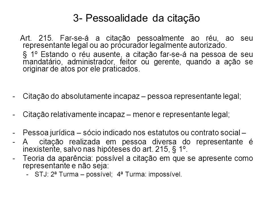 3- Pessoalidade da citação Art.215.