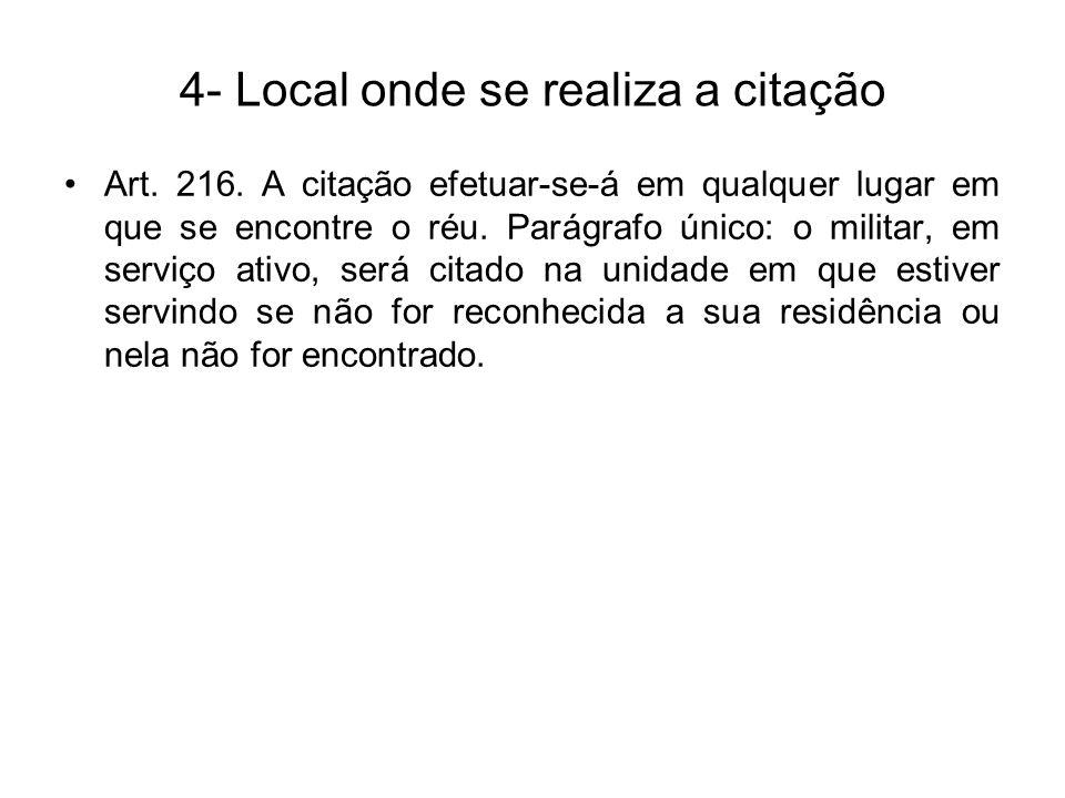 4- Local onde se realiza a citação Art.216.