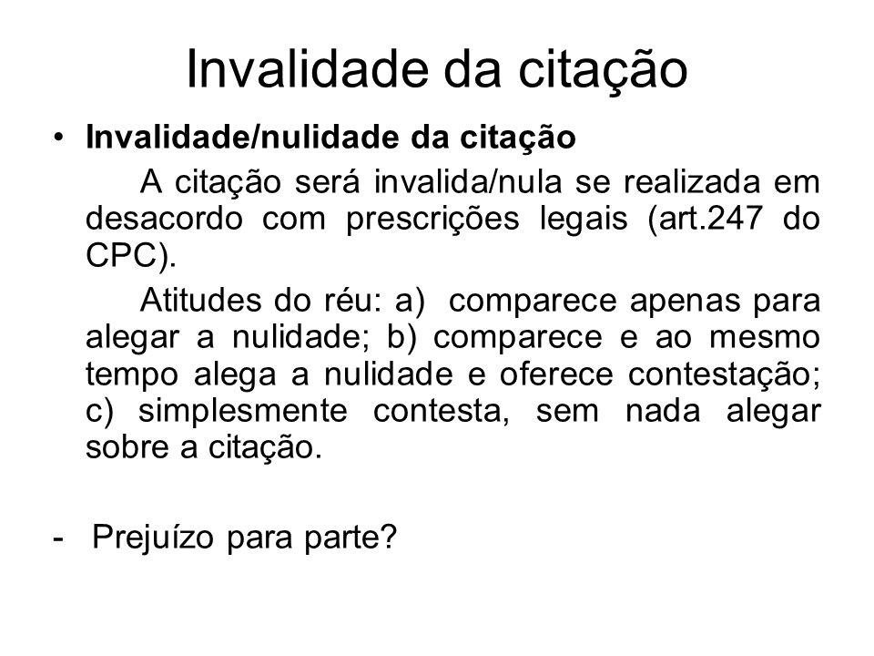 Invalidade da citação Invalidade/nulidade da citação A citação será invalida/nula se realizada em desacordo com prescrições legais (art.247 do CPC).