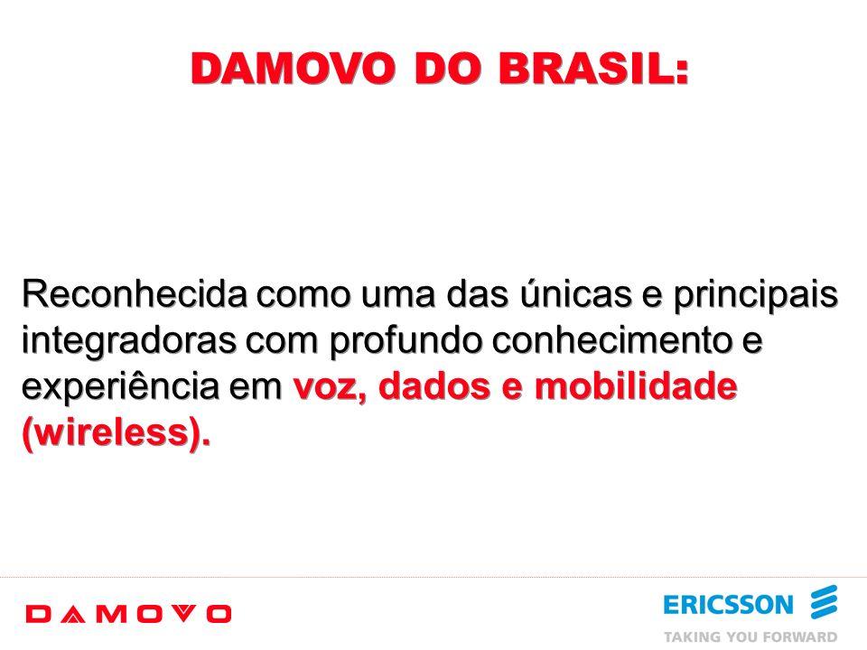 Damovo do Brasil PB SE PI ES RJ RN PE AM RR PAPA AP MA CE BA MG SP PR SC RS MS GO TO MT RO AC AL Filiais = 6 Distribuidores Regionais = 12 Distribuido