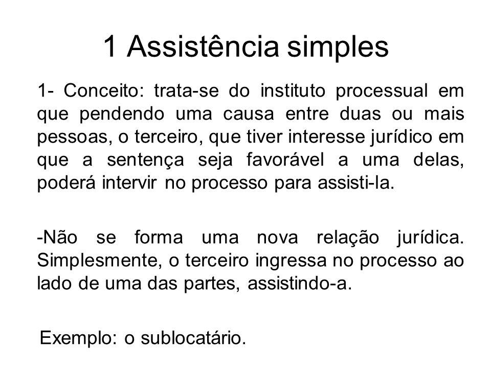 1 Assistência simples 1- Conceito: trata-se do instituto processual em que pendendo uma causa entre duas ou mais pessoas, o terceiro, que tiver intere