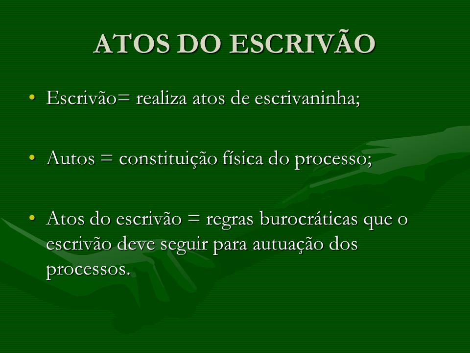 ATOS DO ESCRIVÃO Escrivão= realiza atos de escrivaninha;Escrivão= realiza atos de escrivaninha; Autos = constituição física do processo;Autos = consti