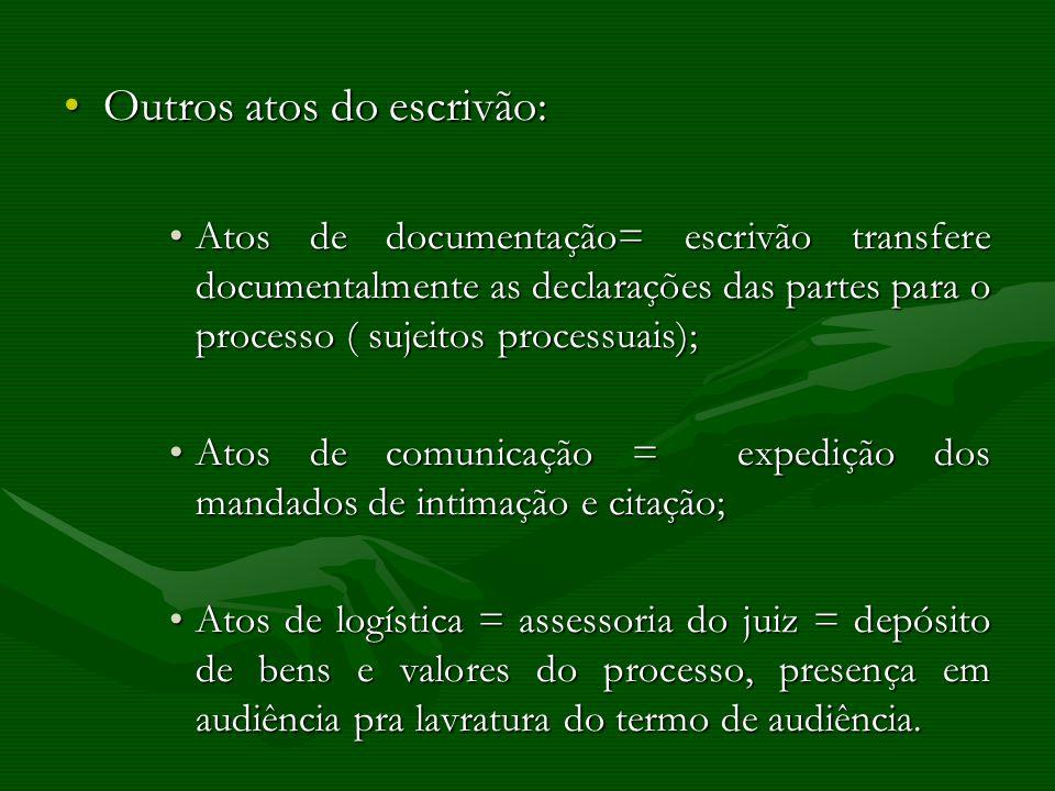 Outros atos do escrivão:Outros atos do escrivão: Atos de documentação= escrivão transfere documentalmente as declarações das partes para o processo (