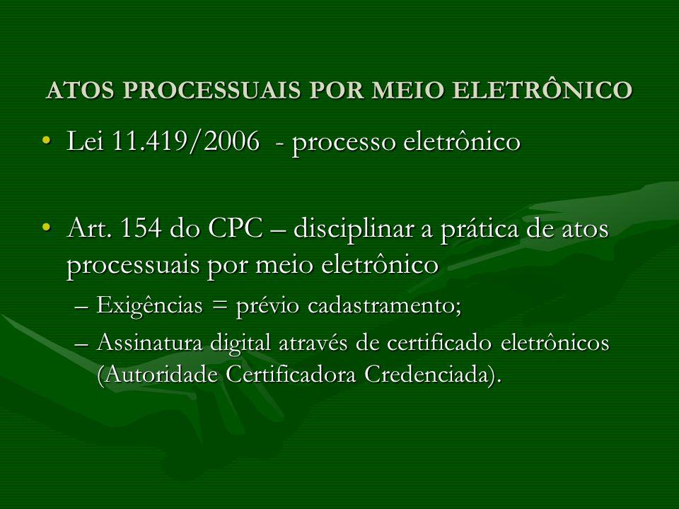 ATOS PROCESSUAIS POR MEIO ELETRÔNICO Lei 11.419/2006 - processo eletrônicoLei 11.419/2006 - processo eletrônico Art. 154 do CPC – disciplinar a prátic
