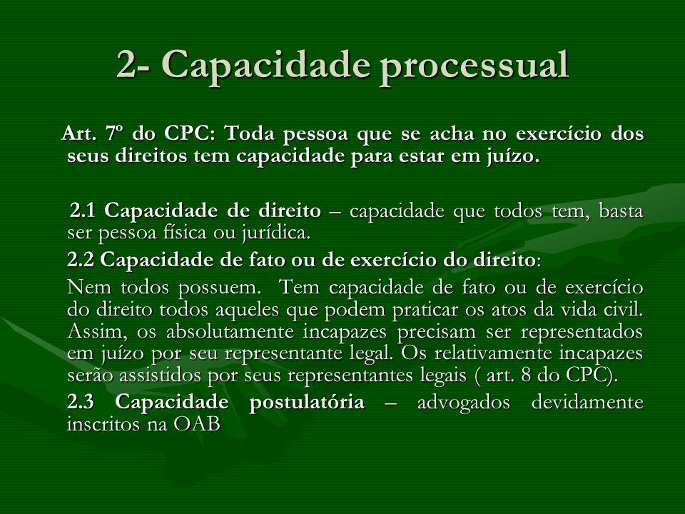 2- Capacidade processual Art. 7º do CPC: Toda pessoa que se acha no exercício dos seus direitos tem capacidade para estar em juízo. Art. 7º do CPC: To