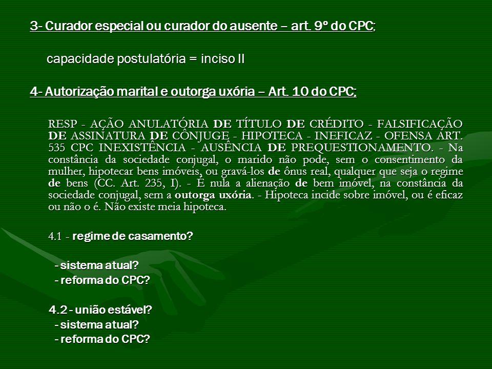3- Curador especial ou curador do ausente – art. 9º do CPC; capacidade postulatória = inciso II capacidade postulatória = inciso II 4- Autorização mar